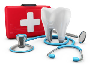 stethoscope on red suitcase and a tooth, 3d render